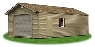 Peak Style Single Car Garage With Vinyl Siding Shed Plans Vinyl Siding Shed