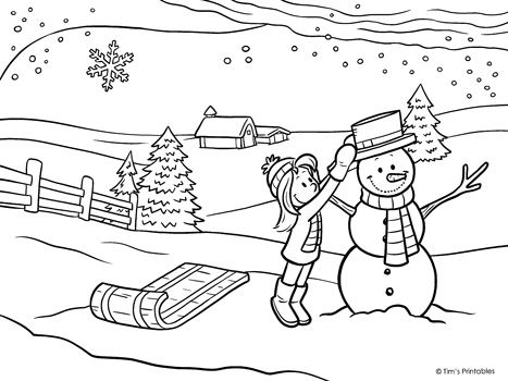 Winter Coloring Page Building A Snowman Tim S Printables Coloring Pages Build A Snowman Winter Printables