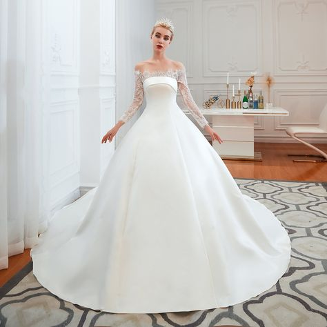 Ball Gown Strapless Long Sleeves Satin Cathedral Train Wedding Dresses WH39352 - US2 / Pearl Pink