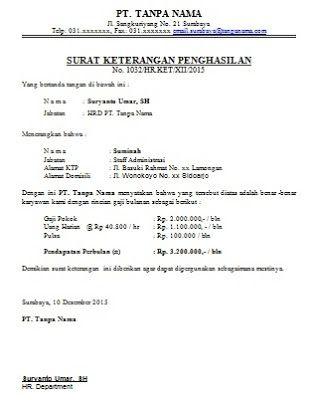 Contoh Surat Keterangan Penghasilan Surat Berhasil Tanda