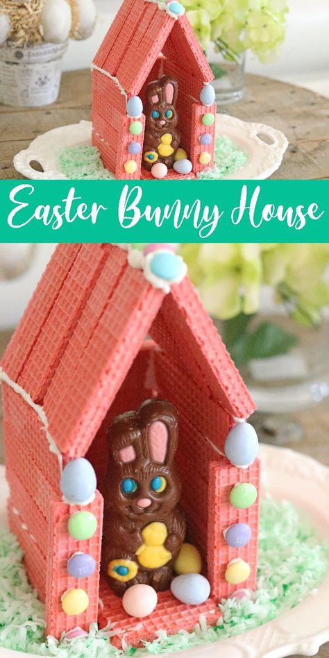 Check out this Easter Bunny Wafer House! A fun and easy Easter House that kids can make. Give this fun Easter activity for kids a try. desserts for kids fun Easter Bunny Wafer House - Passion For Savings Easter Peeps, Hoppy Easter, Easter Party, Easter Treats, Easter Subday, Easter Bunny Eggs, Easter Stuff, Easter Activities For Kids, Easter Crafts For Kids