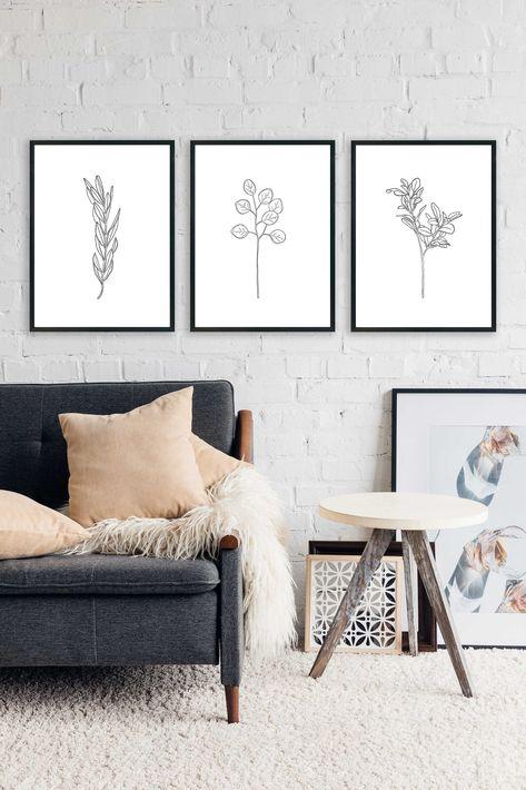 Botanic Printable art - Set of 3 - Black & White Botanical Prints - Neutral botanical print - Herbs and plants poster set - Kitchen art