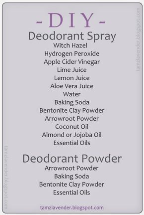 DEODORANT: Spray and Powder | • Witch Hazel ‣astringent, shrinks