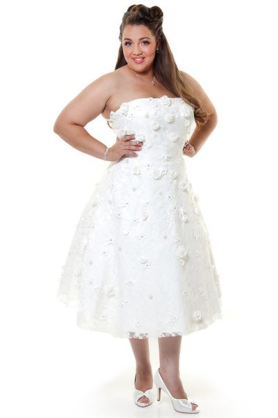 2012 Homecoming Dresses Desert Flower's 1950's Vintage Reproduction Ivory Lace & Floral Applique Tea Length MEAGAN Wedding Dress - XS to 2XL - Unique Vintage - Cocktail, Pinup, Holiday & Prom