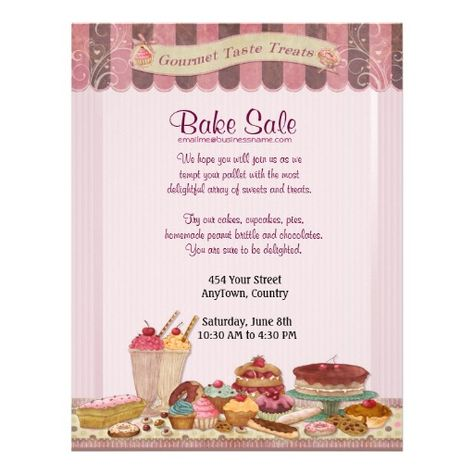 Cupcake, Cakes and Treats Bake Sale Flyer Bake sale flyer, Bake - bake sale flyer