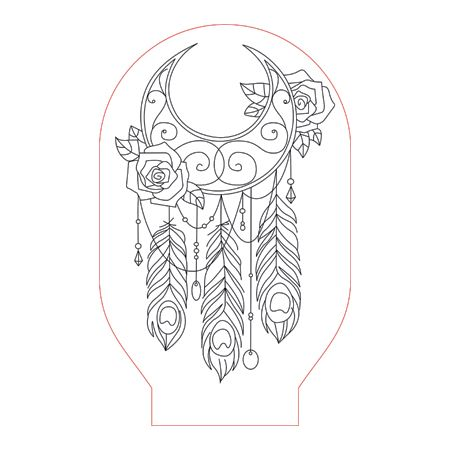 Dream Catcher 1 3d Illusion Lamp Plan Vector File Op For Laser And Cnc 3bee Studio 3d Illusion Lamp 3d Illusions Dream Catcher