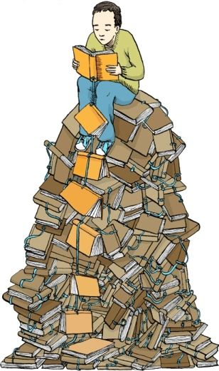 Image result for Images of someone on a mountain of books   Best mysteries,  Reading library, Enough book