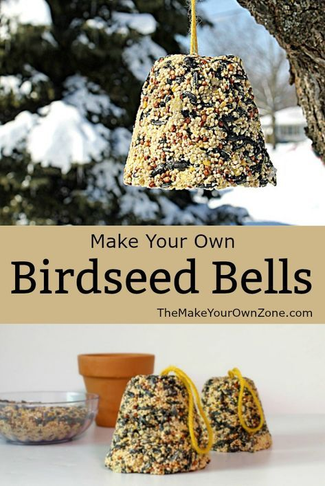 Homemade birdseed bells - A fun way to feed the birds! Make your own birdseed ornaments in a traditional bell shape with this easy method build a bird Bird Suet, Bird Seed Feeders, Bird Feeder Craft, Bird Seed Crafts, Bird Seed Ornaments, Christmas Ornaments, Homemade Bird Feeders, Homemade Bird Houses, Bird Food