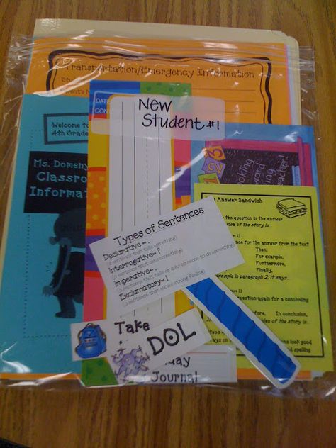 I've got to do this next year New Student Pack. Make 5 extra at the beginning of the year and include: the name tag, lunch number, birthday candle for our display, labels for folders, desk plates, spelling folders, take-home folders, notebooks, beginning of the year information notes, brochure about our classroom, etc.