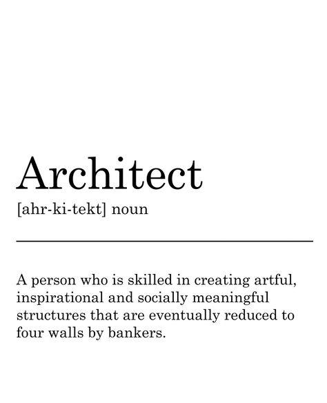 Architect Definition Print. Printable Art, Wall Decor, Funny Print, Typography, Monochrome, Minimali