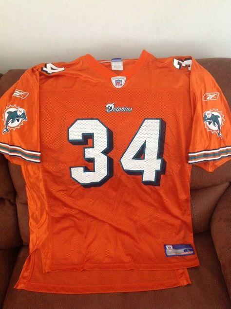 Reebok ricky williams  34 miami dolphins Orange football jersey size L mens   d19ee1023