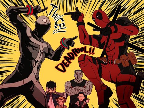 Deadpool and Twice Marvel x Boku no Hero Academia Anime Meme, Comic Anime, Art Anime, Anime Manga, My Hero Academia Memes, Buko No Hero Academia, Hero Academia Characters, My Hero Academia Manga, Anime Crossover
