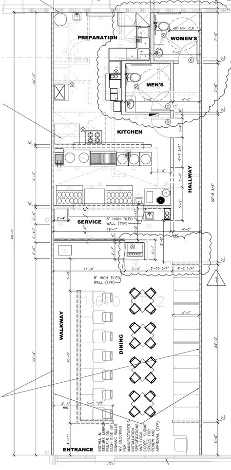 Floor plan for a 1040 SF pho restaurant Pho and Pho Restaurant - fresh blueprint consulting and training
