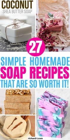 27 DIY Homemade Soap Recipes That Smell Amazing - 27 DIY Homemade soap recipes you need to make! These soap recipes smell amazing and look fantastic! 27 DIY Homemade Soap Recipes That Smell Amazing RT Lifestyle Magazine Handmade Soap Recipes, Soap Making Recipes, Savon Soap, Shea Butter Soap, Glycerin Soap, Castile Soap, Lotion Bars, Do It Yourself Home, Home Made Soap