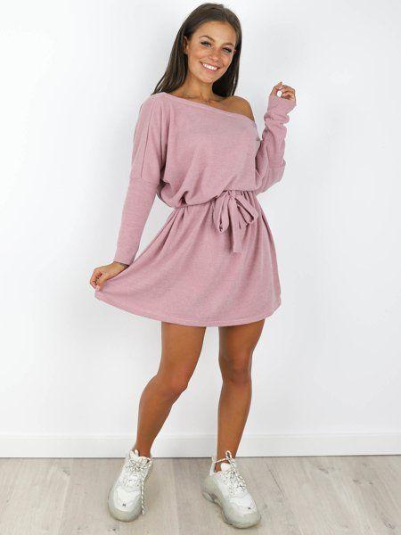 Luzna Sukienka Z Paskiem Kimono Oversize Brudny Roz X182 D01 Fashion Mini Dress Long Sleeve Dress