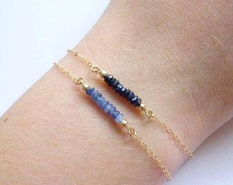 Gemstone Beaded Bracelet Sapphire Bracelet Stack Bracelet September Birthstone Bracelet Genuine Natural Blue Sapphires Birthday Gift