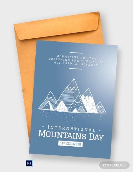 Free International Mountains Day Greeting Card Template Psd Business Card Template Design Greeting Card Template Card Template