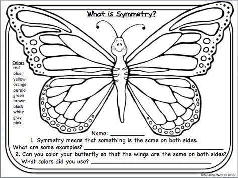 FREE butterfly printable to practice color words and symmetry. Whimsy Workshop Teaching http://whimsyworkshop.blogspot.ca/