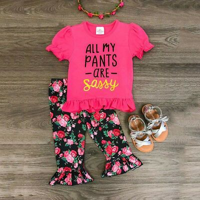 USA Toddler Kid Baby Girls Floral Sassy Tops T-shirt Pants Shorts Outfit Clothes