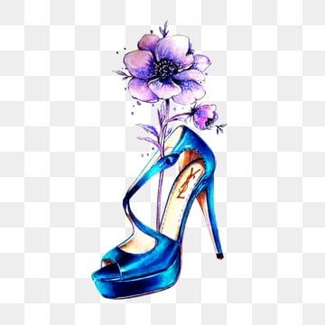 Fashion Blue High Heel Shoe Anemone Flower Hand Drawn Watercolor Heels Clipart Png Anemone Png Transparent Clipart Image And Psd File For Free Download