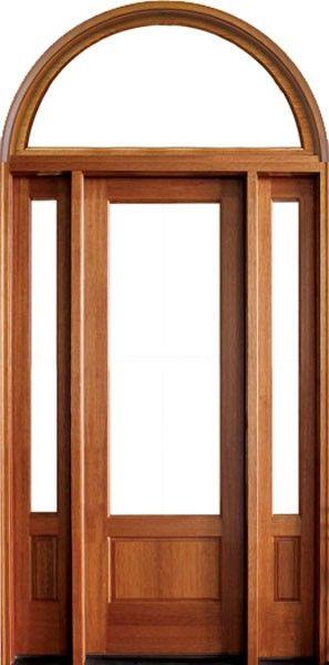 Mahogany Alexandria 1 Lite Impact Single Door 2sidelite Amp Round Transom 2 1 4 Thick Single Doors Glazed Glass Doors