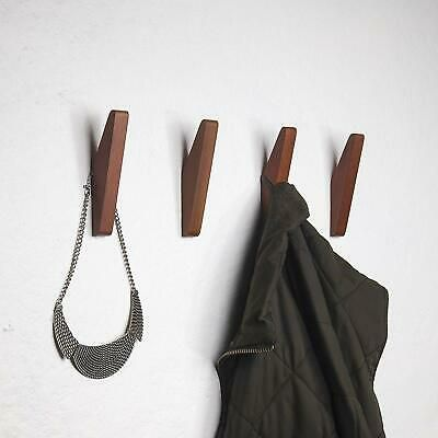 Details About Mid Century Coat Hooks Modern Teak Wood Wall Set Of