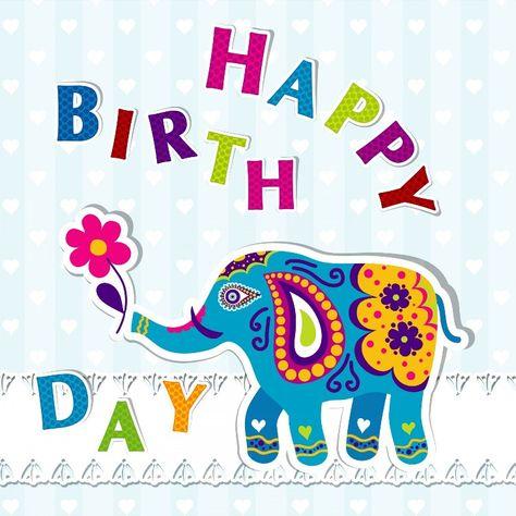 Trendy Birthday Wishes With Elephant Graphic