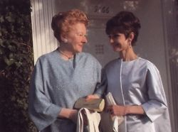 Audrey Hepburn photographed with her mother, the Baroness Ella van Heemstra, arriving at the 37th Annual Academy Awards in Santa Monica, CA on April 5, 1965.