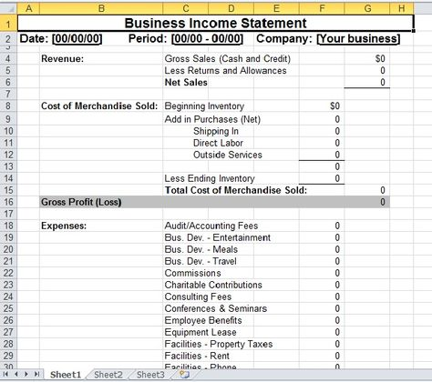 Simple Business Income Statement Template Excel Templates - profit loss statement template