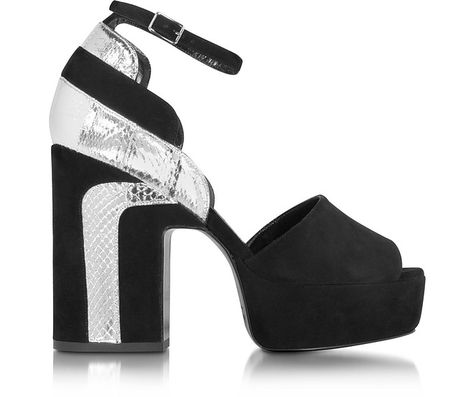 d1809629b PIERRE HARDY Roxy Black Suede and Silver Ayers Platform Sandal.  pierrehardy   shoes