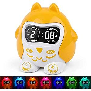 Kids Alarm Clock Sleep Trainer Time To Wake Alarm Clock White Noise Sound Machine With 9 Sounds 7 Color Night Light Dimmer Nap Timer Battery Outlet Oper In 2020 Kids Alarm