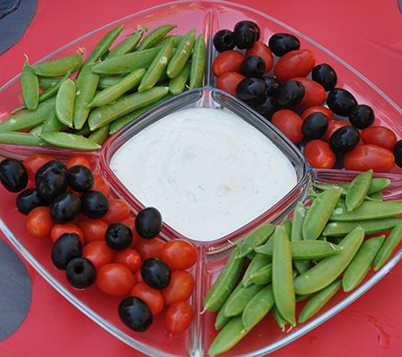 ladybug veggie platter - or a fruit version with strawberries or raspberries with black grapes or blueberries