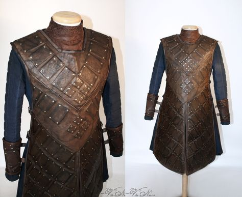 Stark Leather Brigandine The costume is made to order. Since every single piece is made by my own hands, please allow enough time for the making and shipment. Usually the making of your costume will not take longer than three months, but the time frame may differ depending on the current number of orders. In case you want me to keep to a particular deadline, please just mail me before the purchase. Please do not hesitate to ask questions! This costume is based on the ones Robb Stark, Ned Stark,