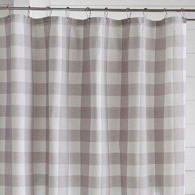 Farmhouse Living Buffalo Check Shower Curtain 72 X 72 Gray