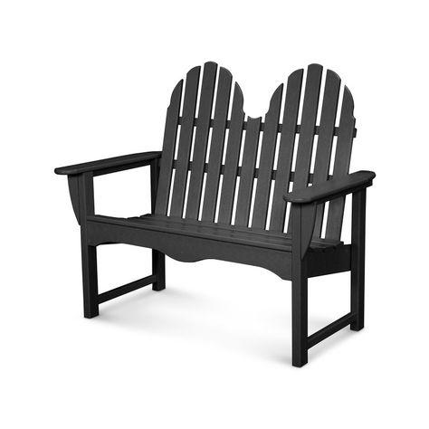 Outdoor Polywooda Classic Recycled Plastic Adirondack Bench Black