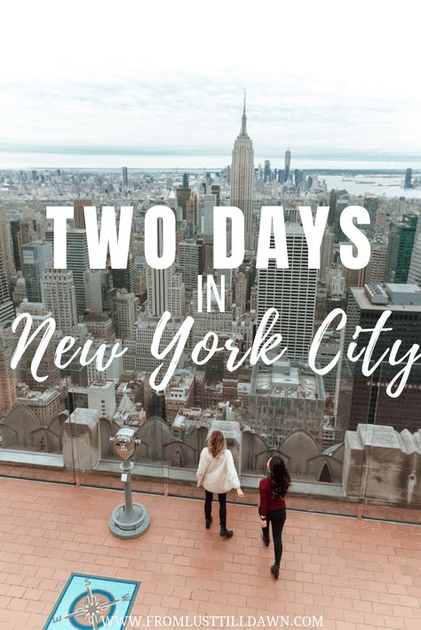 Only have two days in New York City and want to see it all? Here's an activity packed New York itinerary, which includes local foodie spots I love! | PIN FOR LATER | #nyc #newyorkcity #manhattan #newyorkguide #newyorkitinerary #newyorktraveltips #newyorktravel #nyctips #nyctraveltips #nyctravel #manhattanguide #nycguide via @lusttilldawn