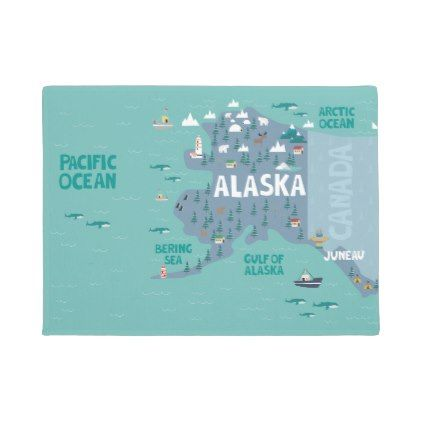 Alaska Illustrated Map Doormat Zazzle Com With Images Map Invitation Illustrated Map Map Poster