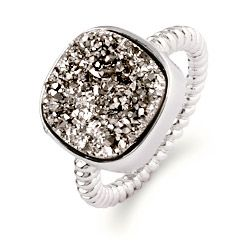 Add some bling to your hand with this sterling silver cushion cut shimmering dusk Drusy ring.