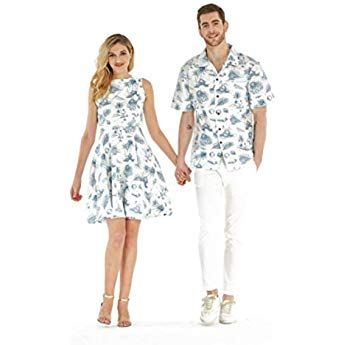 Couple Matching Hawaiian Luau Cruise Outfit Shirt Vintage Fit And Flare Dress Classic Vintage Hibiscus In 2020 Cruise Dress Matching Couple Outfits Floral Dress Casual