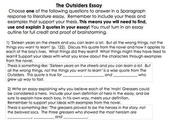 The Outsider Essay Outline Response To Literature Outsiders On