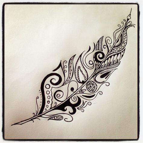 Feather tattoo I drew Feather Tattoo Tattoo Ideas Abstract Doodle Art