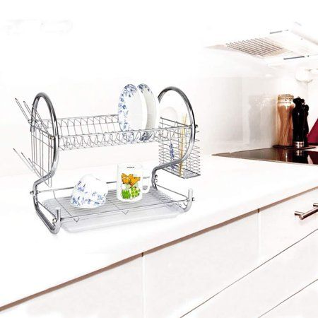 2 Tiers Dish Drainer Holder Kitchen Dish Cup Drying Rack Drainer