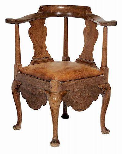Rare American Walnut Queen Anne Corner Antique Chairs Southern