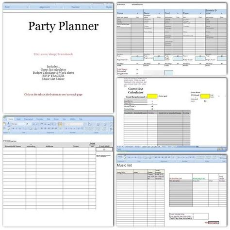 Party Planner Budget, headcount, Play list, music, RSVP