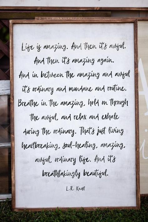 Life is Amazing - Sign Size: 24 wide x 36 tall Vintage Linen Background / Black Letters Umber Brown Frame ------------------------------------------------------------------------------------------ Our current turnaround time is 7-14 business days. Please verify that all Etsy account