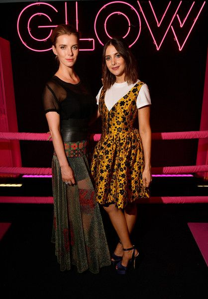 Betty Gilpin and Alison Brie attend as Netflix's 'Glow' celebrates its 10 Emmy Nominations.