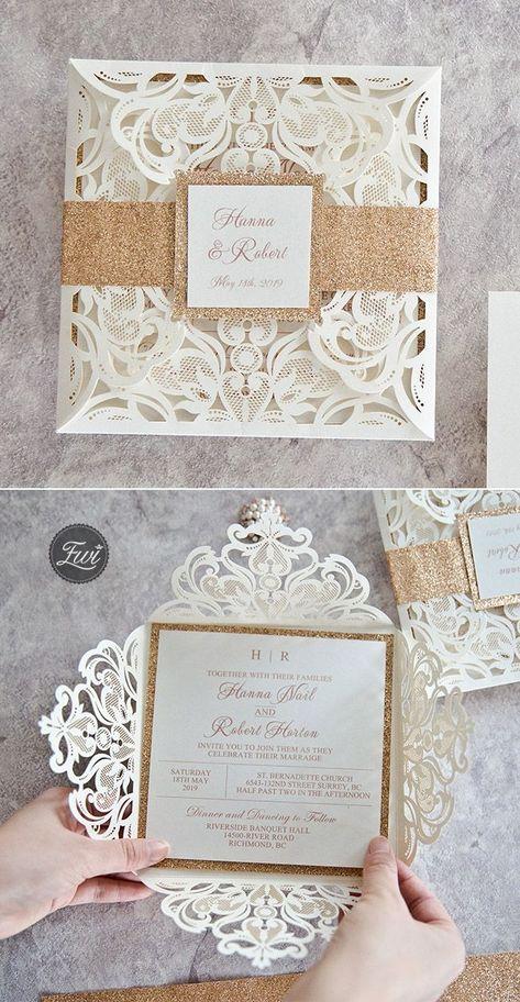 top 10 most popular laser cut wedding invitation with glitters from Elegant Wedding Invites