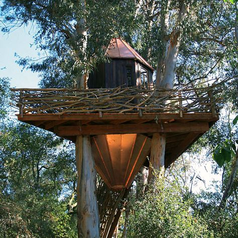 I love the way the branches are used for the handrails of this tree house