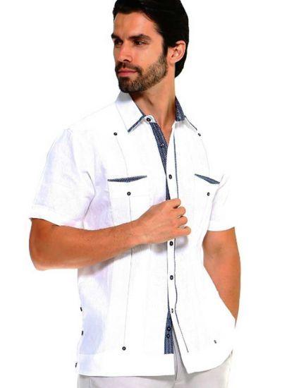 Men S Premium 100 Linen Guayabera Shirt Short Sleeve 2 Pockets Design With Contrast Print Trim White Color Guayabera Shirt Guayabera Short Sleeve