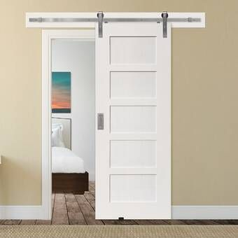Paneled Manufactured Wood Primed Rockport Barn Door With Installation Hardware Kit In 2020 Interior Barn Doors Diy Closet Doors Glass Barn Doors